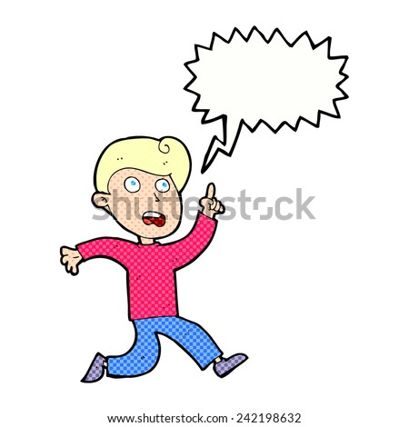 cartoon boy running shouting warning