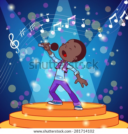 Cartoon boy singing with a microphone. Vector clip art illustration - stock vector
