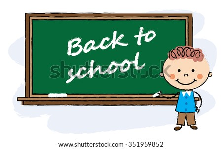 cartoon boy staying near classroom board. Back to school background.  - stock vector