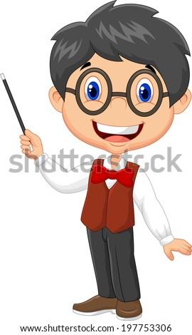 Cartoon boy teaching - stock vector