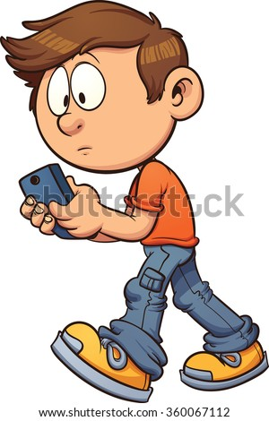 Cartoon boy texting while walking. Vector clip art illustration with simple gradients. All in a single layer. - stock vector