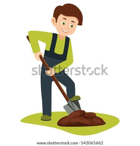 Kids digging clipart