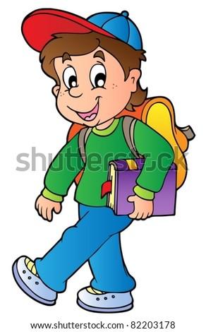 Cartoon boy walking to school - vector illustration. - stock vector