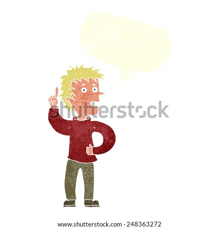 cartoon boy with idea with speech bubble - stock vector