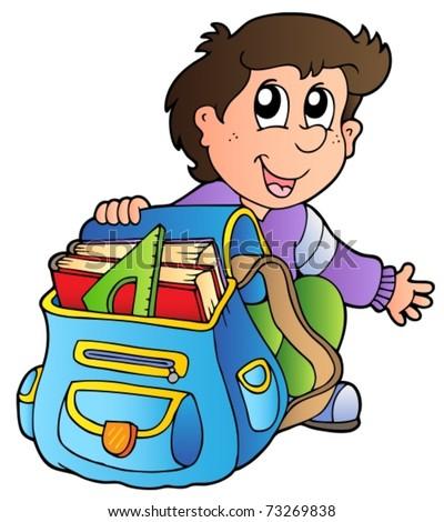 Cartoon boy with school bag - vector illustration. - stock vector