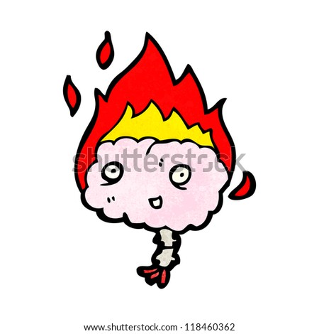 cartoon brain on fire