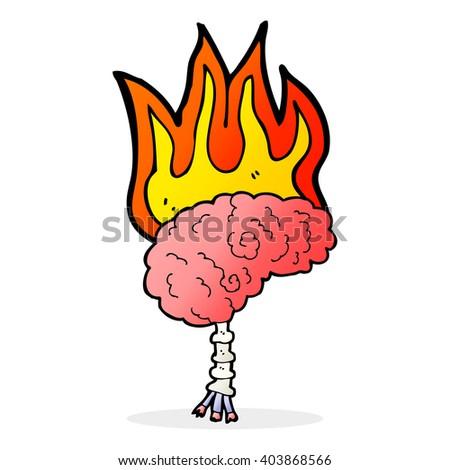 cartoon brain on fire - stock vector