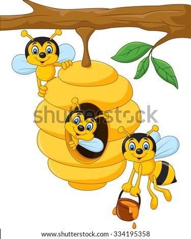 cartoon branch tree beehive bee stock vector hd royalty free rh shutterstock com beehive cartoon pictures cartoon beehive clipart