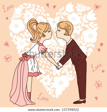 Cartoon bride and groom kiss on heart shape background. Vector illustration. - stock vector
