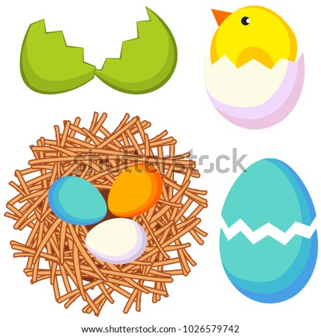 Cartoon bright colorful easter icon set stock vector 1026579742 cartoon bright colorful easter icon set chicken nest egg shell vector illustration for gift card negle Choice Image
