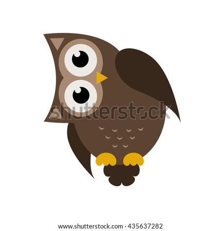 Cartoon brown owl icon - stock vector