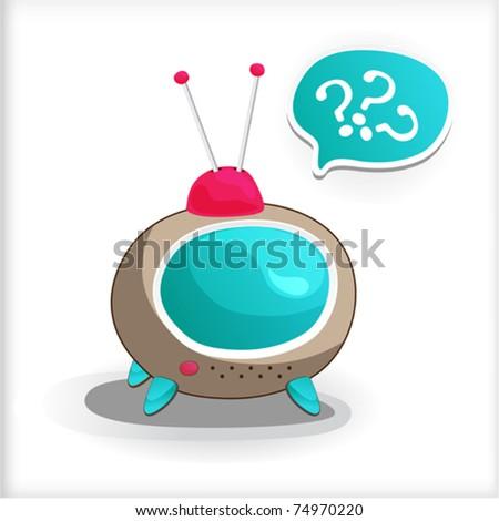Cartoon brown Television, sticker dialogue - stock vector