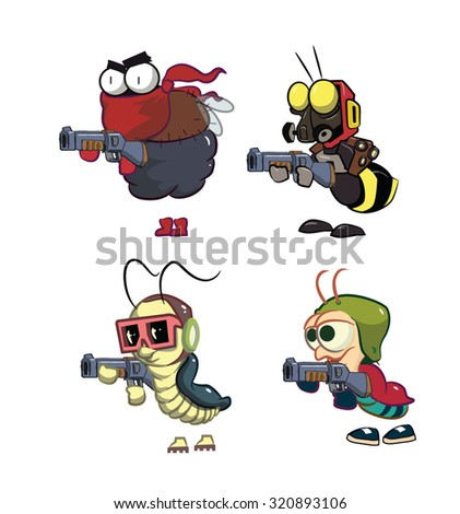 Cartoon Bugs characters with shotgun in vector. Fly, Bee, Cockroach, Ant.