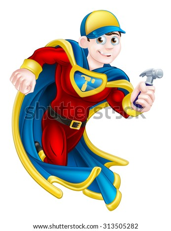 Cartoon builder, handyman, DIY or carpenter superhero mascot holding a hammer - stock vector