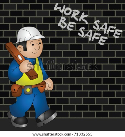 Cartoon builder with health and safety message - stock vector