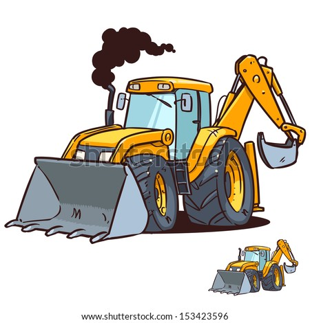cartoon bulldozer and excavator - stock vector