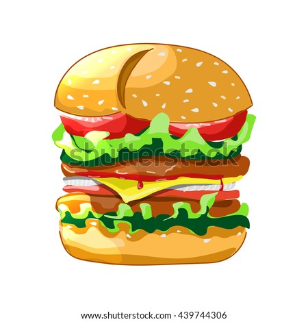 Cartoon burger. Cheeseburger or hamburger icon for fastfood restaurant. Vector illustration. White background
