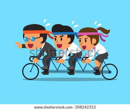 Cartoon business boss and business team ride tandem bicycle - stock vector