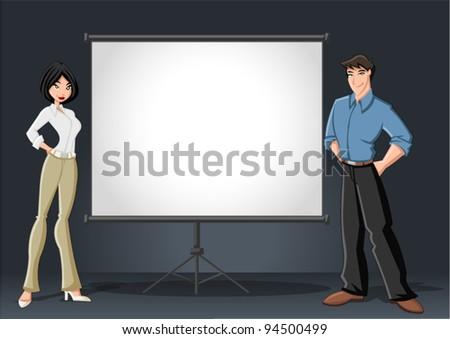 Cartoon business couple and white billboard with empty space. Presentation screen. - stock vector