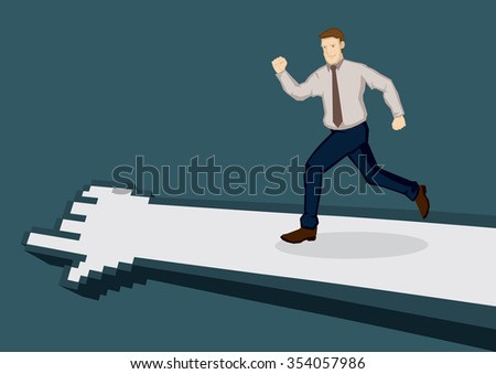 Cartoon business executive running in the direction indicated by pixelated digital hand. Vector illustration for technology and business concept isolated on green background. - stock vector