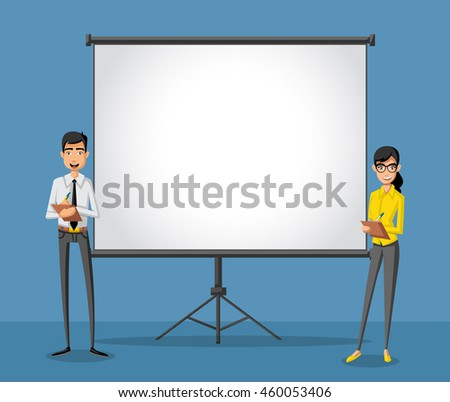 Cartoon business people and white billboard with empty space. Presentation screen.  - stock vector