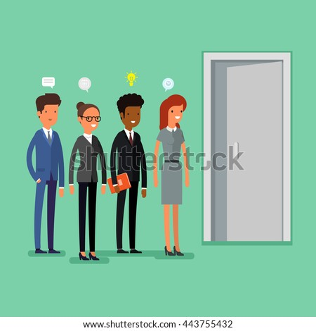 Cartoon business people standing in a line. Flat design, vector illustration