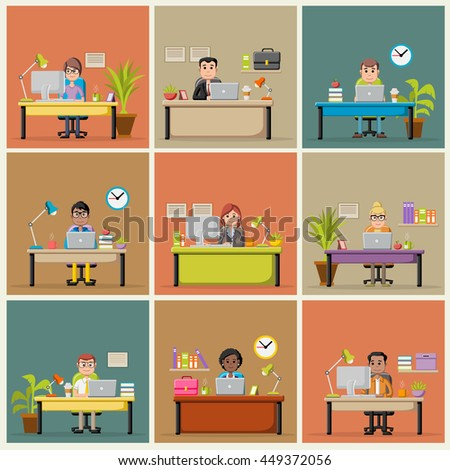 Cartoon business people working with computer. Office workspace with desks.   - stock vector