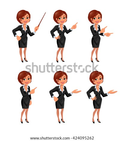 Cartoon business woman presentation set. Set of cartoon smiling businesswoman in suit standing in different presentation poses. Vector illustration isolated on white background. - stock vector