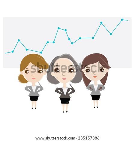 Cartoon business woman team standing on profit  graph background. vector design illustration. - stock vector