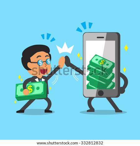 Cartoon businessman and smartphone earning money - stock vector