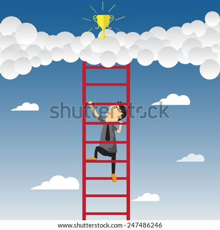 Cartoon businessman climbing upward on the stair of cloud to get success, vector illustration. - stock vector