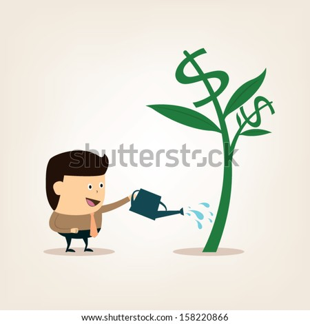 Cartoon Businessman during watering the money tree for the business and financial growth