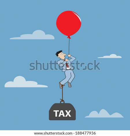 Cartoon Businessman flying away by using red balloon with burden tax. Vector illustration - stock vector
