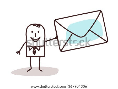 cartoon businessman holding a mail envelope - stock vector