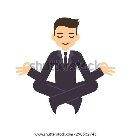 Cartoon businessman in formal suit meditating in lotus pose. Isolated on white background. - stock vector