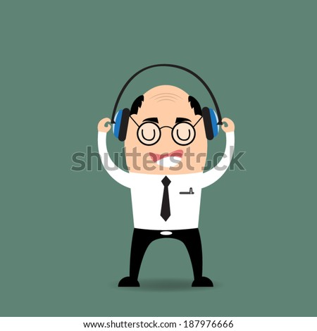 cartoon businessman listening to music - stock vector