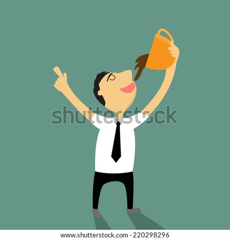 cartoon businessman need coffee in break time, He happy with his coffee cup vector illustration - stock vector