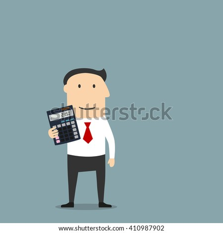 Cartoon businessman or accountant is showing an electronic desktop calculator with copy space on display. Use as business presentation, financial report or advertisement design - stock vector