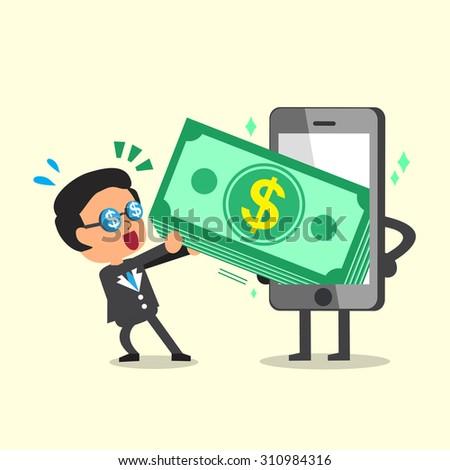 Cartoon businessman pulling money stack from smartphone - stock vector