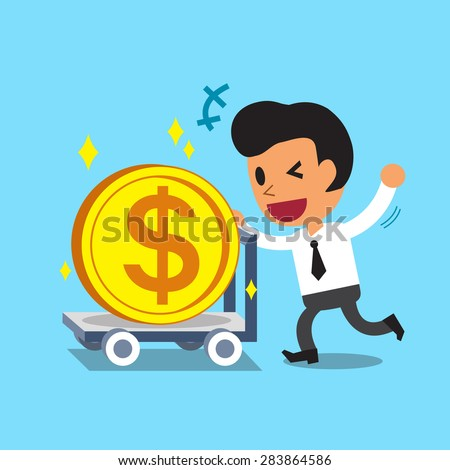 Cartoon businessman pushing big coin trolley