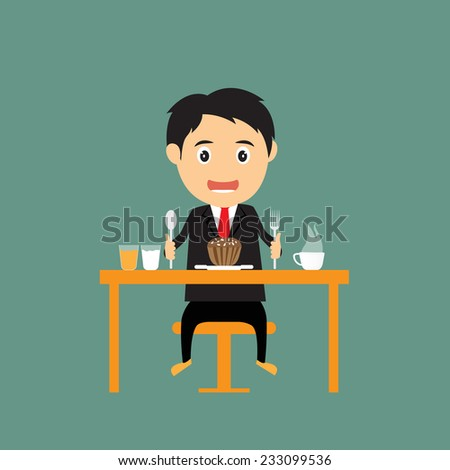 Cartoon businessman sitting at table with food, fastfood, breakfast, vector illustration. - stock vector
