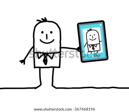 cartoon businessman taking a picture of himself - stock vector