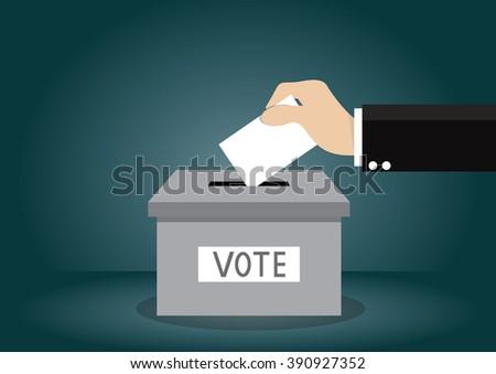Cartoon, Businessman votes Voting., vector eps10 - stock vector
