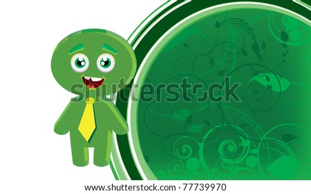 Cartoon businessman with floral background - stock vector