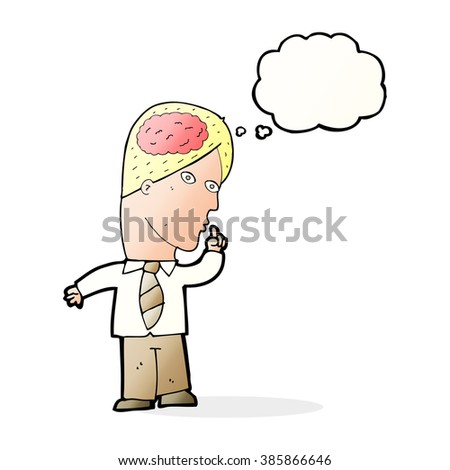 cartoon businessman with huge brain with thought bubble - stock vector