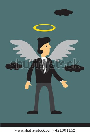 Cartoon businessman with wings and halo. Vector illustration on business angel investor concept.  - stock vector