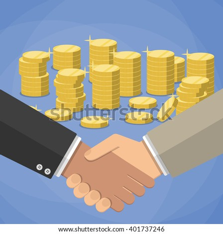 cartoon businessmen handshake at blue background with gold coins stacks. shaking hands. successful transaction. vector illustration in flat design - stock vector