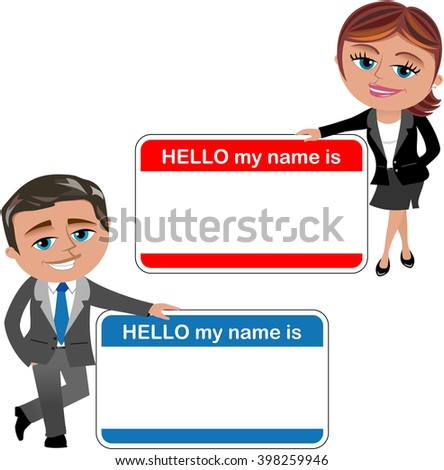 Cartoon businesswoman and businessman introducing theirself with big hello my name is card isolated - stock vector