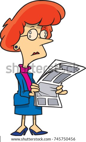 cartoon businesswoman looking at a newspaper