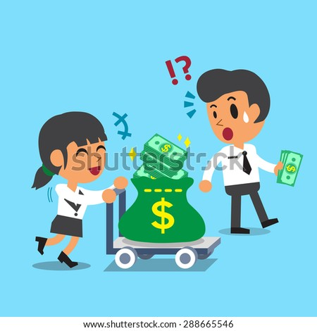 Cartoon businesswoman pushing money trolley and businessman carrying some money - stock vector